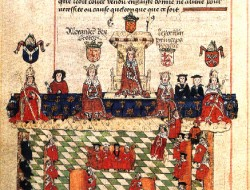 """The English Parliament Meets before Edward"" by Anonymous, c.1327"